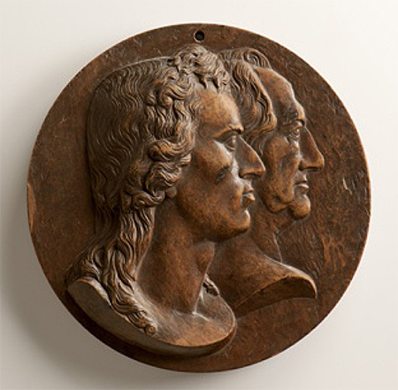 Holzmodell für Plakette mit Doppelportrait von Schiller und Goethe, Bild: Landesmuseum Württemberg