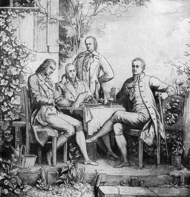 Schiller, Goethe und die Gebrüder Humboldt in einer Studie von Adolph Müller um 1797