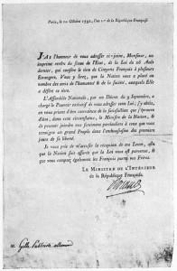 Schiller Urkunde zur Ehrenstaatsbürgerschaft in Frankreich