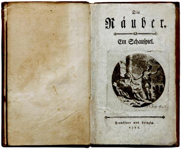 Die Räuber – Titelblatt des Erstdruckes 1781, noch ohne Angabe des Autors, Wikipedia: Foto H.- P. Haack