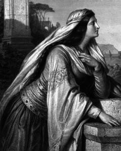 Beatrice, Charakter aus dem Schiller-Drama Die Braut von Messina, Zeichnung von Arthur von Ramberg, 1859