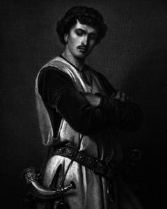 Don Manuel, Charakter aus dem Schiller-Drama Die Braut von Messina, Zeichnung von Arthur von Ramberg, 1859