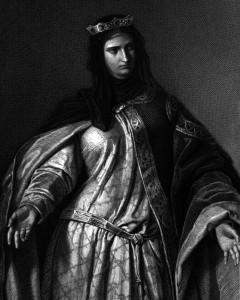 Donna Isabella, Charakter aus dem Schiller-Drama Die Braut von Messina, Zeichnung von Arthur von Ramberg, 1859