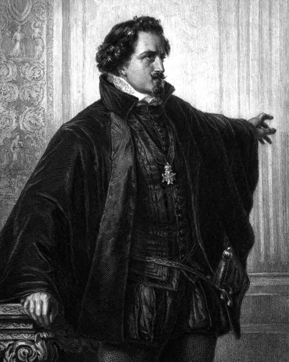 Marquis Posa, Charakter aus dem Schiller-Drama Don Carlos, Zeichnung von Arthur von Ramberg, 1859