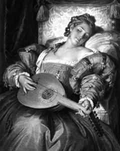 Prinzessin Eboll, Charakter aus dem Schiller-Drama Don Carlos, Zeichnung von Arthur von Ramberg, 1859