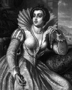 Julia Imperiali, Charakter aus dem Schiller-Drama Die Verschwörung des Fiesco zu Genua, Zeichnung von Friedrich Pecht, 1859
