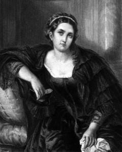 Leonore, Charakter aus dem Schiller-Drama Die Verschwörung des Fiesco zu Genua, Zeichnung von Friedrich Precht, 1859