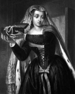 Agnes Sorel, Charakter aus dem Schiller-Drama Die Jugnfrau von Orleans, Zeichnung von Friedrich Pecht, 1859