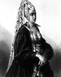 Königin Isabeau, Charakter aus dem Schiller-Drama Die Jungfrau von Orleans, Zeichnung von Friedrich Pecht, 1859