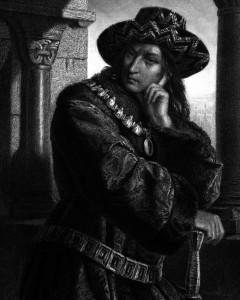 Karl VII., Charakter aus dem Schiller-Drama Die Jungfrau von Orleans, Zeichnung von Friedrich Pecht, 1859