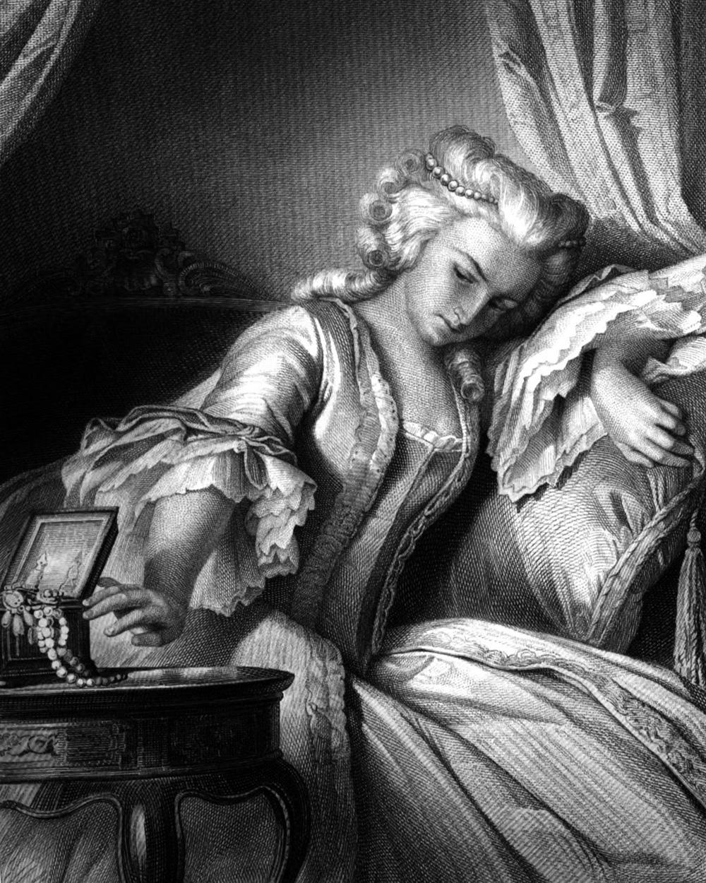 Lady Milford, Charakter aus dem Schiller-Drama Kabale und Liebe, Zeichnung von Arthur von Ramberg, 1859