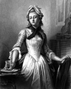 Luise Miller, Charakter aus dem Schiller-Drama Kabale und Liebe, Zeichnung von Arthur Ramberg, 1859