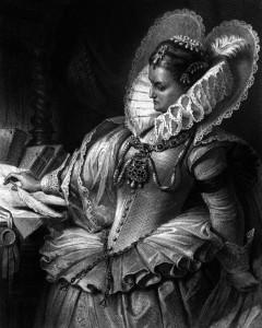 Elisabeth, Königin von England, Charakter aus dem Schiller-Drama Maria Stuart, Zeichnung von Arthur von Ramberg, 1859