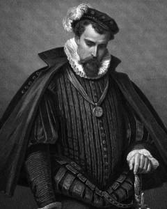 Leicester, Charakter aus dem Schiller-Drama Maria Stuart, Zeichnung von Arthur von Ramberg, 1859
