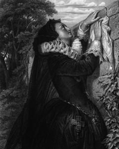 Maria Stuart, Charakter aus dem Schiller-Drama Maria Stuart, Zeichnung von Arthur Ramberg, 1859