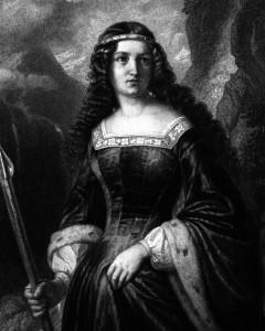 Bertha von Bruneck, Charakter aus dem Schiller-Drama Wilhelm Tell, Zeichnung von Friedrich Pecht