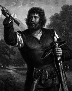 Wilhelm Tell, Charakter aus dem Schiller-Drama Wilhelm Tell, Zeichnung von Friedrich Pecht, 1859