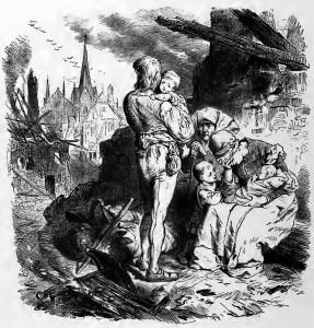 Das Lied von der Glocke: Das Feuer hat das traute Heim zerstört. Alle sind am Leben, das ist der Trost.
