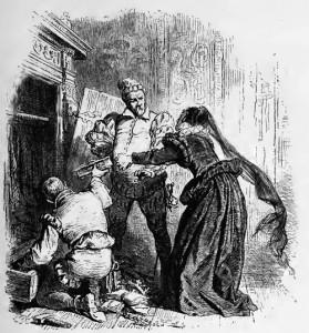 Maria Stuart, 1. Akt, 1. Szene: Die Wächter von Maria Stuart nehmen ihr die letzten Kostbarkeiten weg. Hanna Kennedy kann sie nicht daran hindern.