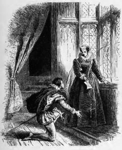 Maria Stuart, 1. Akt, 5. Szene: Mortimer überreicht Maria Stuart einen Brief von ihrem Oheim aus Frankreich.