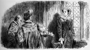Maria Stuart, 1. Akt, 7. Szene: Lord Burleigh erklärt Maria Stuart, dass das Urteil über sie gefällt wurde.