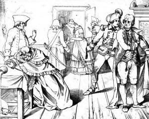 """Friedrich Schiller: """"Kabale und Liebe"""", 2. Akt 7. Szene: Präsident von Walter hat Luise zutiefst beleidgt. Ihr Vater wehrt sich mit Beleidigungen. Der Präsident will sie in den Kerker werfen, doch Ferdinand droht, die Machenschaften seines Vaters öffentlich zu machen."""