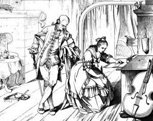 """Friedrich Schiller: """"Kabale und Liebe"""", 3. Akt 6. Szene: Der schmierige Intrigant Wurm zwingt Luise, einen Liebesbrief an Hofmarschall von Kalb zu schreiben,"""
