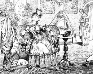"""Friedrich Schiller: """"Kabale und Liebe"""", 4. Akt 7. Szene: Lady Milford findet im Gespräch gegen Luise keine Mittel gegen deren Aufrichtigkeit und Treue."""