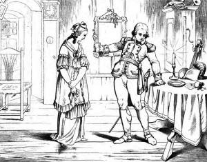 """Friedrich Schiller: """"Kabale und Liebe"""", 5. Akt 7. Szene: Ferdinand reicht Luise die vergiftete Limonade."""