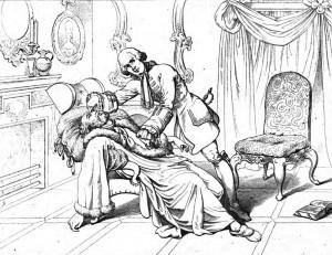 """Friedrich Schiller """"Die Räuber"""", 2. Akt 2. Szene: Franz Moor hat seinen Vater zu Tode erschreckt. Franz glaubt zunächst, dass sein Vater tot ist."""