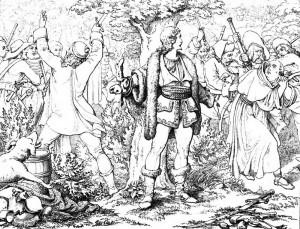 """Friedrich Schiller """"Die Räuber"""", 2. Akt 3. Szene: Karl Moor hält im Lager der Räuber dem Pater eine Strafpredigt."""
