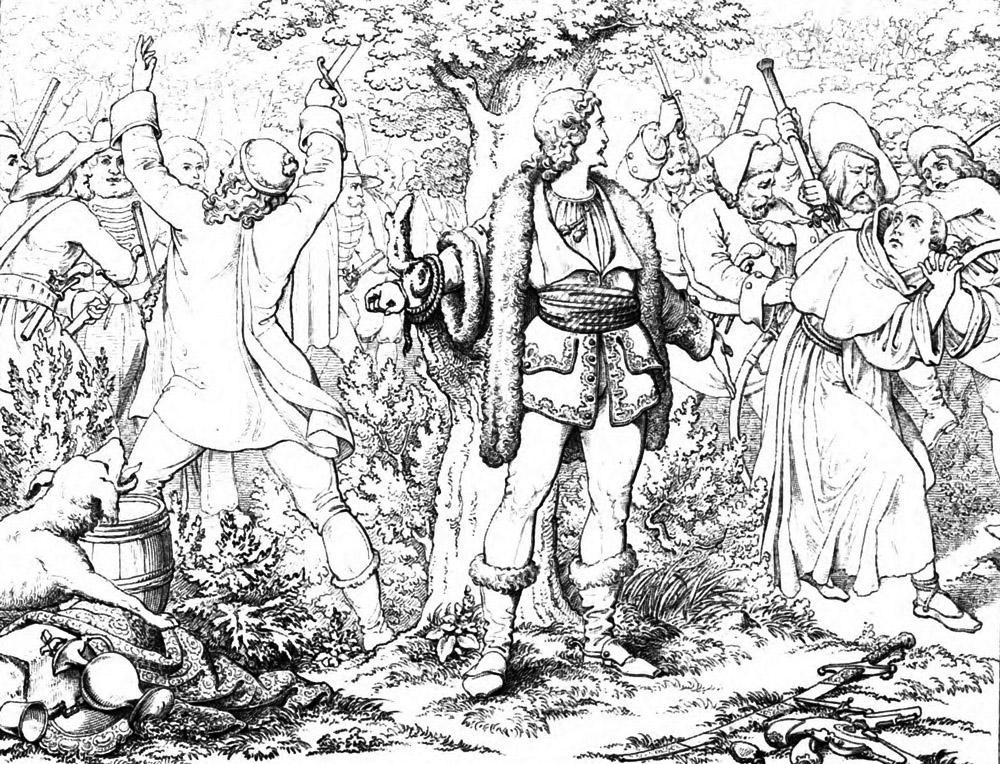 Friedrich Schiller Rauber  Szene Karl Moor Halt Im Lager Der Rauber Dem Pater Eine Strafpredigt