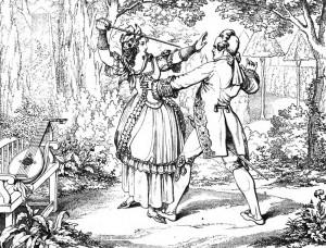 """Friedrich Schiller """"Die Räuber"""", 3. Akt 1. Szene: Amalia hält sich im Garten des Moor'schen Schlosses den aufdringlichen Franz vom Leibe."""