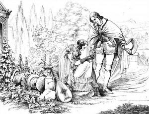 """Friedrich Schiller """"Die Räuber"""", 4. Akt 4. Szene: Der verkleidete Karl begegnet im Garten des väterlichen Schlosses Amalia, die ihrem Karl treu ergeben ist."""
