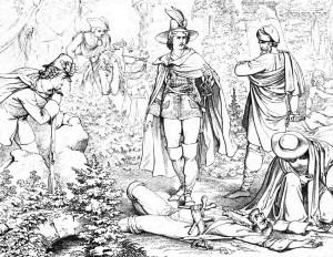 """Friedrich Schiller """"Die Räuber"""", 4. Akt 5. Szene: Schweizer hat Spiegelberg erstochen, der zum Meuchelmord an Karl anstiften wollte."""