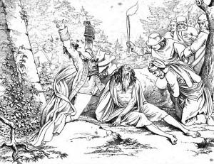 """Friedrich Schiller """"Die Räuber"""", 4. Akt 5. Szene: Der gepeinigte Graf Maximilian von Moor wird befreit. Sein Sohn Karl dringt nun zur Tat gegen seinen tyrannischen Bruder Franz."""