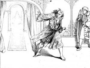 """Friedrich Schiller """"Die Räuber"""", 5. Akt 1. Szene: Franz wurde von einem Albtraum über das jüngste Gericht heimgesucht."""