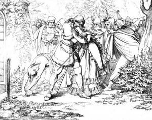 """Friedrich Schiller """"Die Räuber"""", 5. Akt 2. Szene: Franz ist tot. Die Räuber bringen auf Amalia mit ins Lager."""