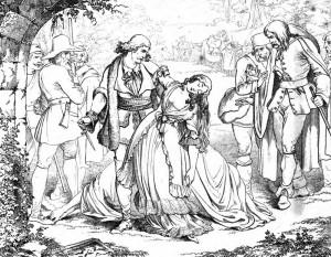 """Friedrich Schiller """"Die Räuber"""", 5. Akt 2. Szene: Karl erweist Amalia ihre letzte Bitte und ersticht sie, ehe er sich in die Hände der Gerichte übergibt."""