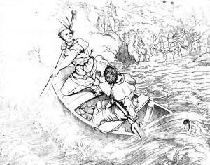"""Friedrich Schiller """"Wilhelm Tell"""" 1. Akt 1. Szene: Wilhelm Tell setzt den flüchtigen Baumgarten über den rauen See."""