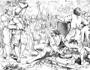 """Friedrich Schiller """"Wilhelm Tell"""" 1. Akt 3. Szene: In Altdorf in Uri wird der Hut Gesslers auf einer Stange aufgestellt, um die vorüberkommenden Schweizer zu demütigen."""