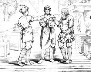 """Friedrich Schiller """"Wilhelm Tell"""" 1. Akt 4. Szene: Staffacher, Fürst und Melchtal beschließen, gemeinsame Sache zu machen und reichen sich die Hände."""