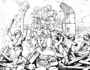 """Friedrich Schiller """"Wilhelm Tell"""" 5. Akt 1. Szene: Die Zwingburg des Vogtes wird nieder gerissen."""